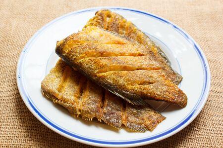 pectoralis: Trichogaster pectoralis, fried salid fish thai food. Stock Photo