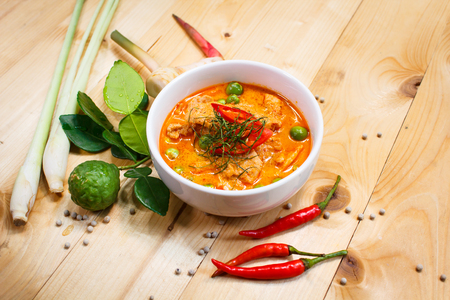 thai culture: Panang pork, savory curry paste with pork and coconut milk. Stock Photo