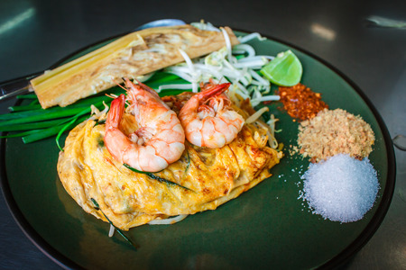 Padthai with shrimp,Thai style noodles.