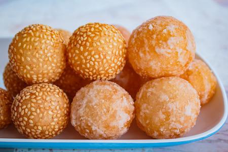 sesame street: many kind of thai dessert, sesame balls. Stock Photo