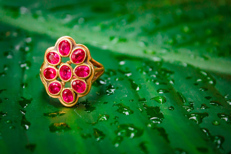 Red sapphire ring gold, gem thai style.