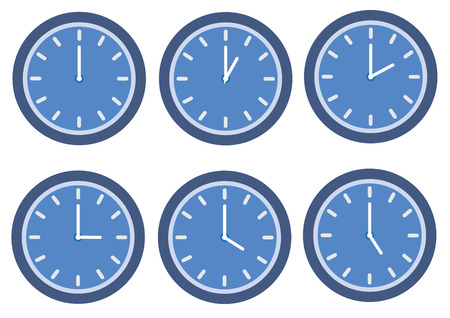 A blue clock on plain background