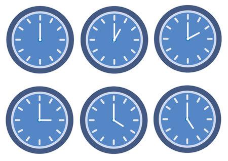 A blue clock on plain background