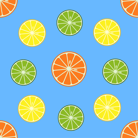 Seamless pattern with orange and lemon fruits, Vector illustration. Ilustração