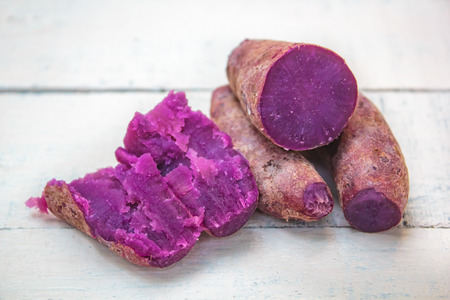 Boiled organic sweet potato, yellow yam, purple yam.
