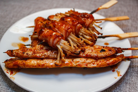 Mala is Grilled meat (Beef, Pork, Chickens or Mushroom) with chilli sauce and chinese hot spicy herb, street food.