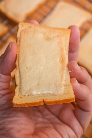 Crispy butter toast, homemade tasty toast with butter.