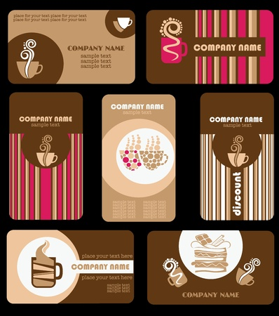 fancy pastry: vector collection of coffee business cards Illustration