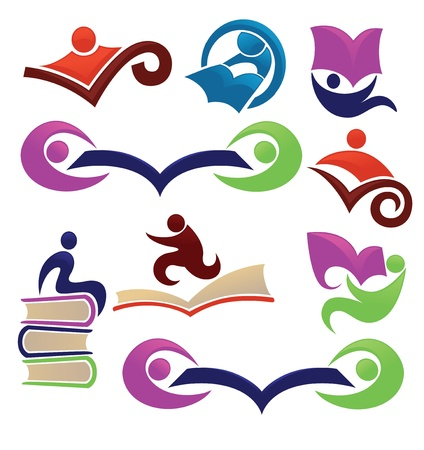 book shop: vector collection of reading and education symbols