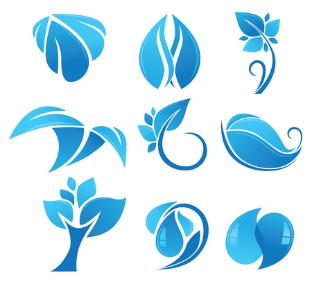 vector collection of blue eco and nature symbols Vector