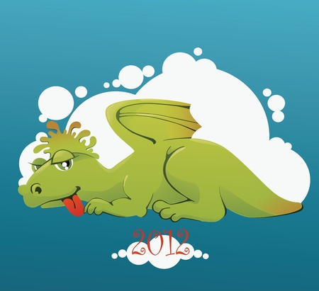 image of funny cartoon dragon, symbol of year Vector