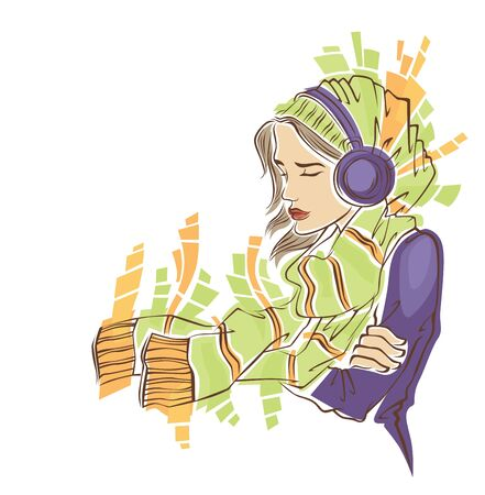 my favorite music vector image of girl in winter clothes Vector