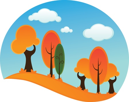 image of beautiful cartoon forest Vector