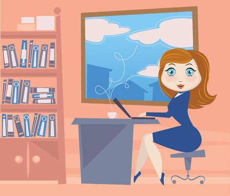 place of work: vector image of funny cartoon girl in office space Illustration