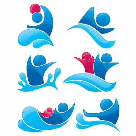 vector collection of aqua park and swimming symbols  Vector