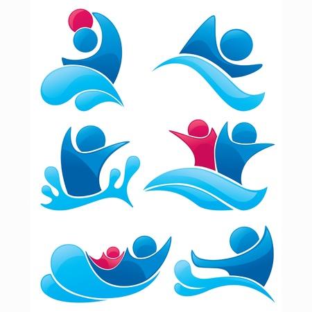 aqua park: vector collection of aqua park and swimming symbols