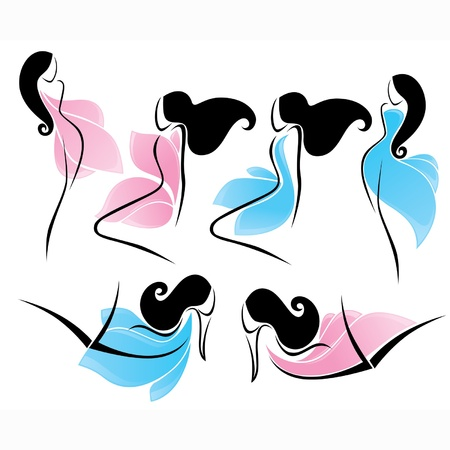 bodies: blue and pink: vector collection of girls in dresses looking like a flower petals