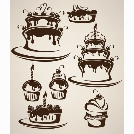 Vector collection of cakes and candies Vector