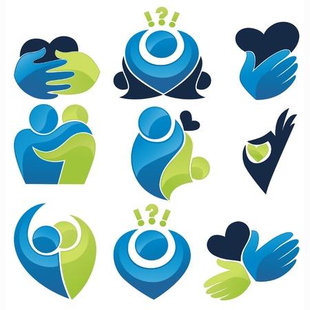 cuidar: Vector conjunto de palmeras, corazones, la gente, el amor y la comunicaci�n