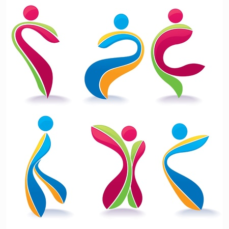sportive: vector collection of active dancing bright people