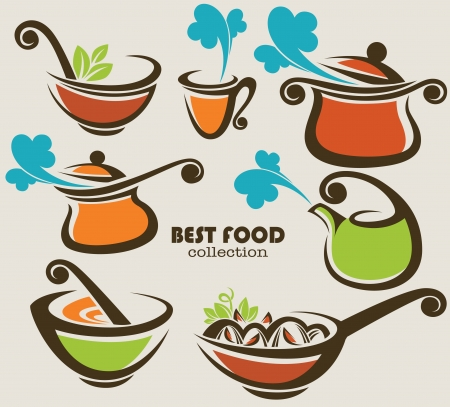 soup bowl: collection of cooking equipment and food symbols Illustration