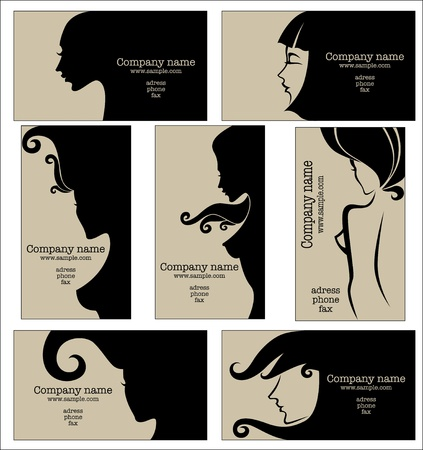 salon background: collection of business cards for beauty salon, hairdressers or plastic surgery