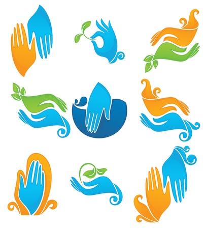 manos limpias: colección de iconos de las manos limpias naturales Vectores