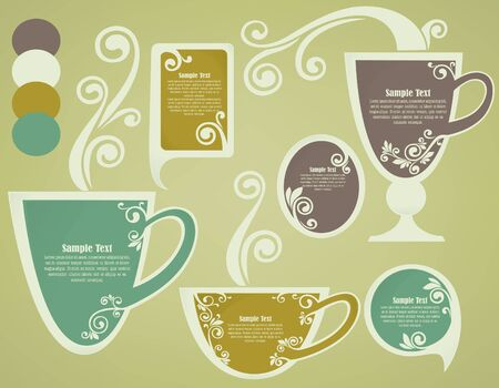 vintage cups,collection of frames for your messages  Vector