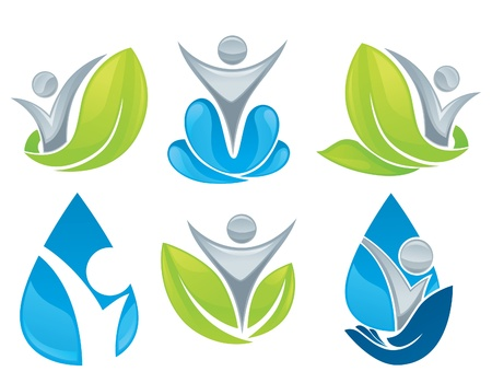 healthy person: drop and leaves collection of signs, symbols and icons