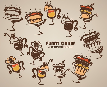 collection of funny cakes and sweet hot drinks Stock Vector - 12490095