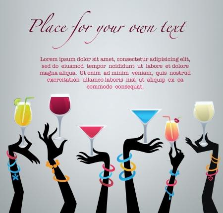 fruit drink: bevi con me, fondo commerciale con le immagini delle bevande e delle mani