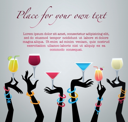 martini glass: drink with me,commercial background with images of drinks and hands