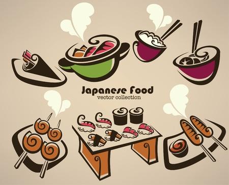 comida japonesa: colección de símbolos de alimentos japoneses Vectores