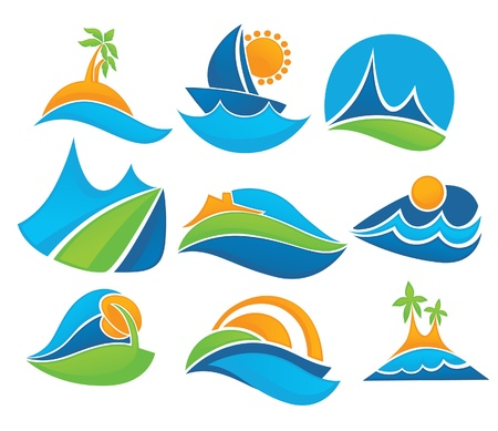 resorts: collection of summer tourism and vacation symbols