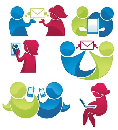 collection of people communication icons Vector
