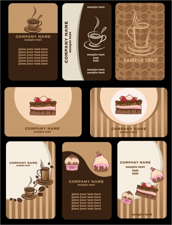 cupcake illustration: Set of variety business coffee cards