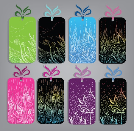 collection of artistic hang tags with flowers leaves and nature images  Vector