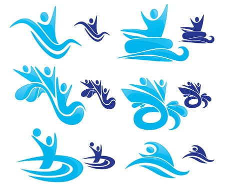 collection of aqua park symbols Vector