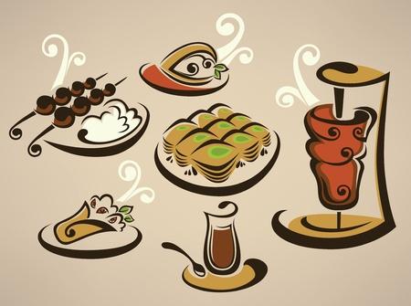 pinchos morunos: colección de imágenes de comida árabe Vectores