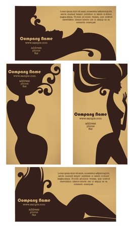 cosmetics collection: vector collection of business cards for beauty salon, hairdressers, solarium, or plastic surgery