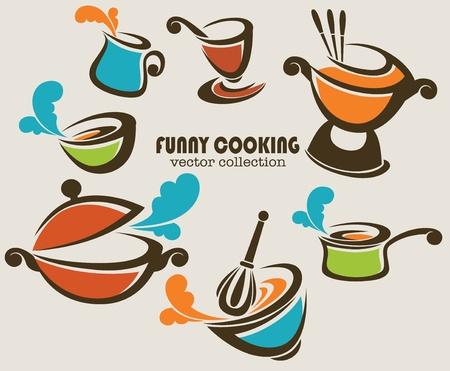 po�les � frire, woks et des trucs de cuisine d'autre part, la collecte vecteur