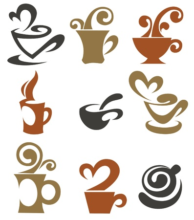 coffee and tea, cups collection Stock Vector - 12852367