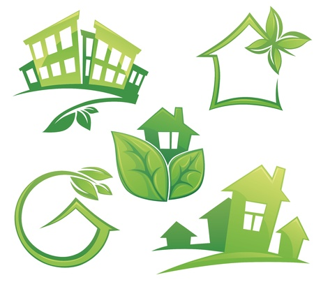 eco house: vector set of ecological city and homes signs and icons