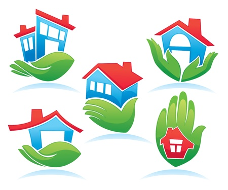 my little home, collection of cottages in hands  Vector