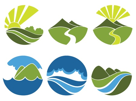 paesaggio mare: raccolta di simboli del paesaggio Vettoriali