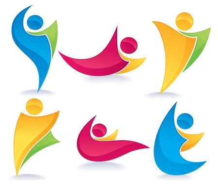 freedom icon: vector collection of abstract, colorful, active people doing fitness  Illustration