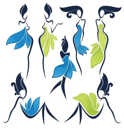 forme: collection vecteur de filles ressemblent quelques fleurs Illustration