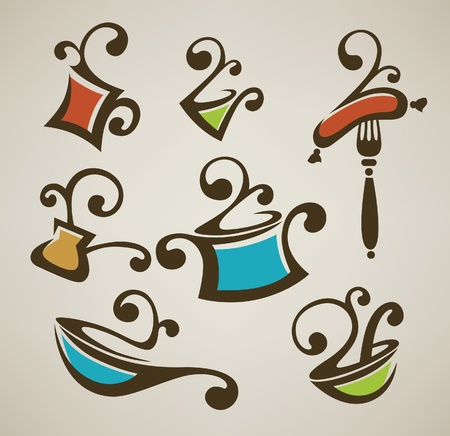 frying pan: vector collection of cooking equipment and food symbols  Illustration