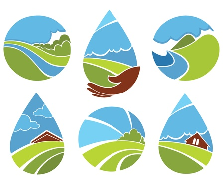 safe world: collection of landscape and nature symbols
