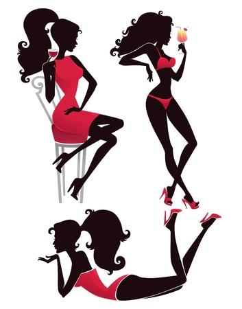 vin chaud: collection de l'été chaud, silhouettes fille belle s